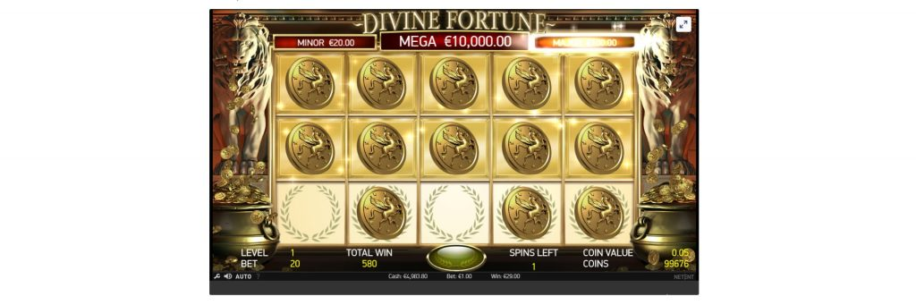 Divine Fortune slot machines jackpot.