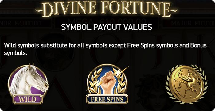 Divine Fortunes symbols.