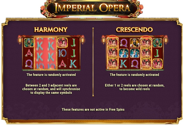 Types of game in the Imperial Opera video slot.