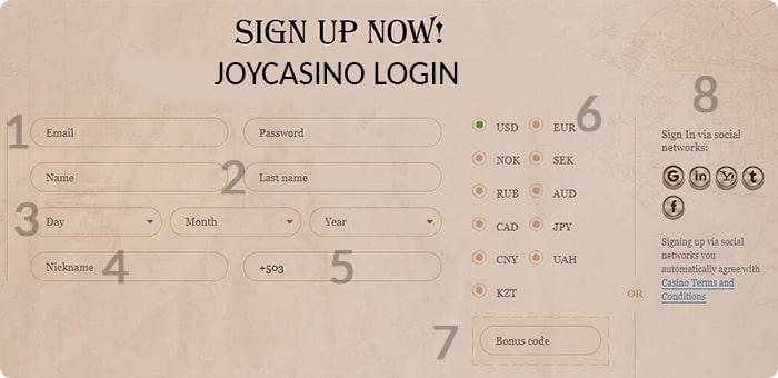 Joycasino login.