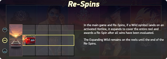 Main game and Re-spins in Hotline.