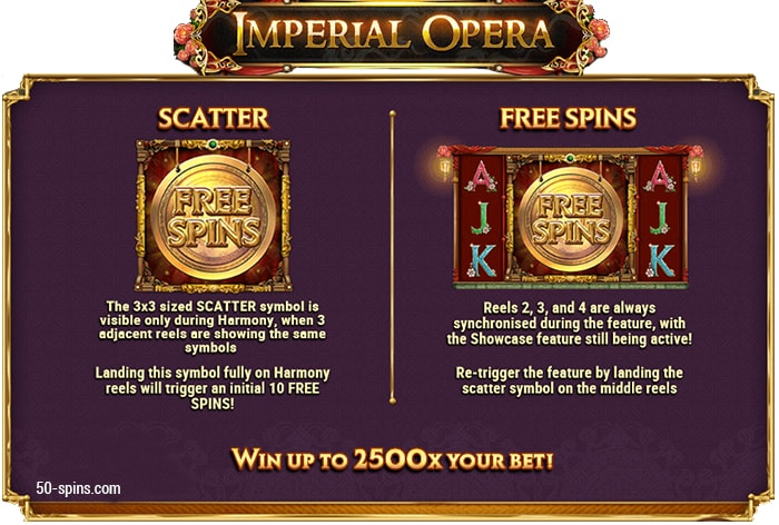 Scatter and Free spins in Imperial Opera slot machine.
