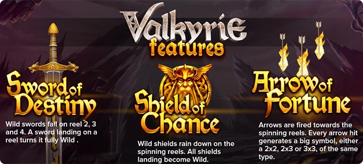 Valkyrie slot features.