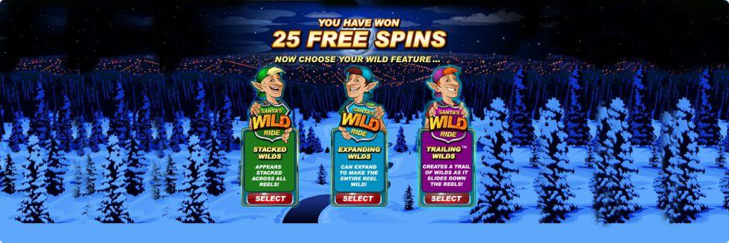 Santa Wild Ride slot machine 25 Free spins.