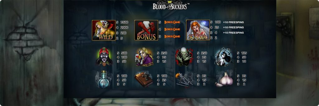 Blood Suckers Slot Machines symbols.
