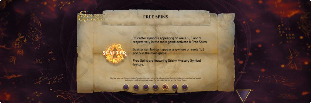 Golden Grimoire Free spins.