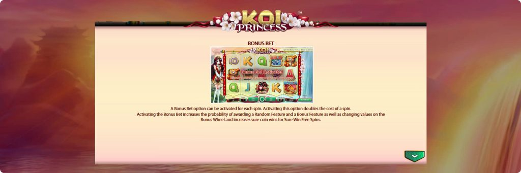 Koi Princess slot machine bonuses.