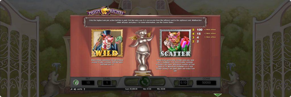 Piggy Riches slot machine features.