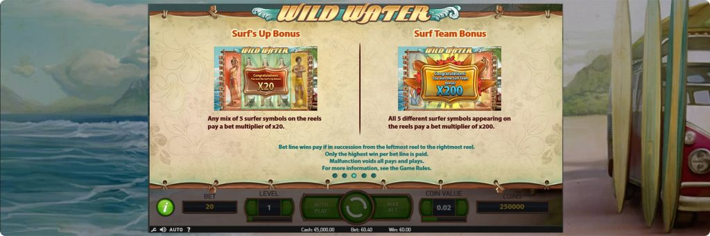 Wild Water slot machine bonuses.