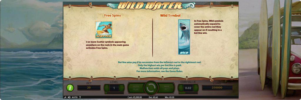 Wild Water slot machine wild and free spins.