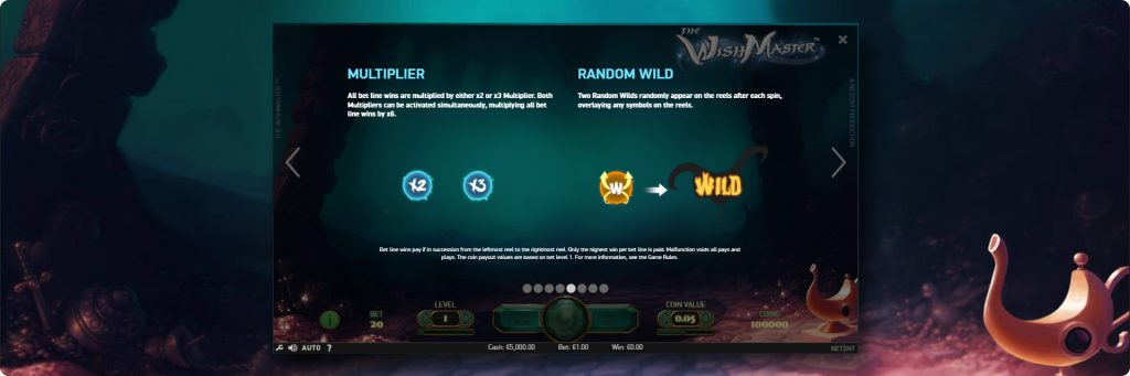 The wish master slot machine features.