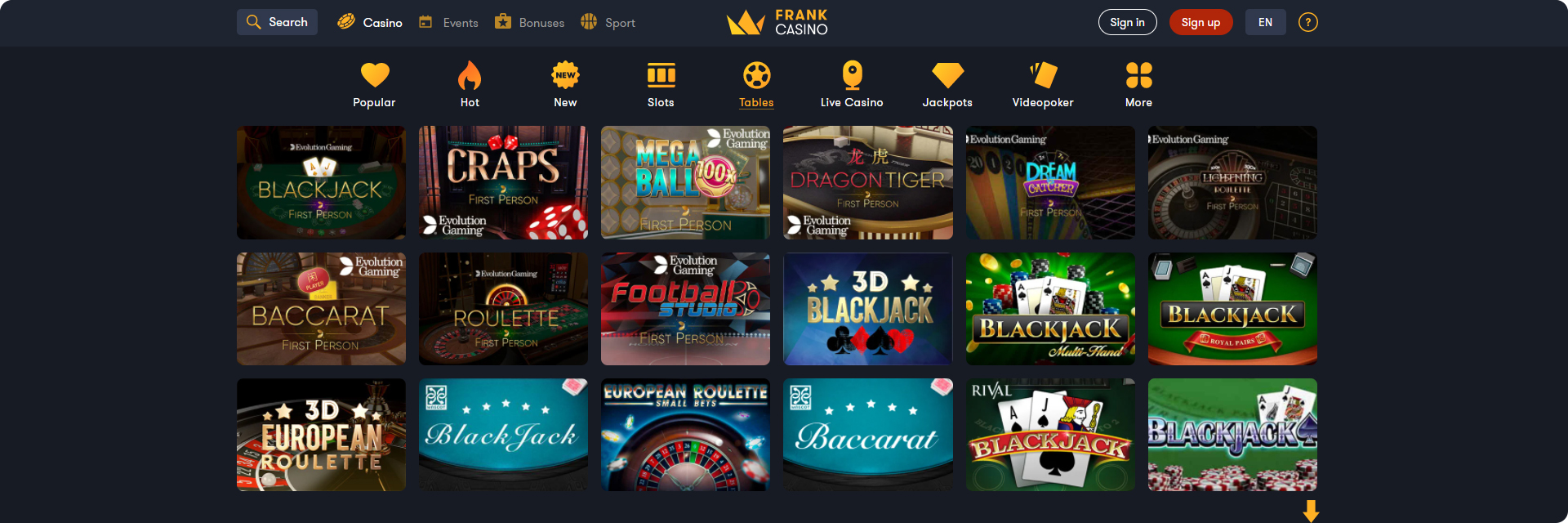 Frank table games casino.