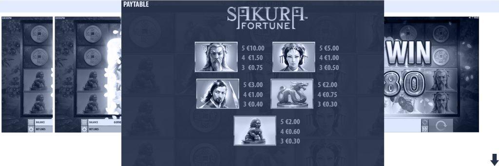 Sakura Fortune slot symbols.