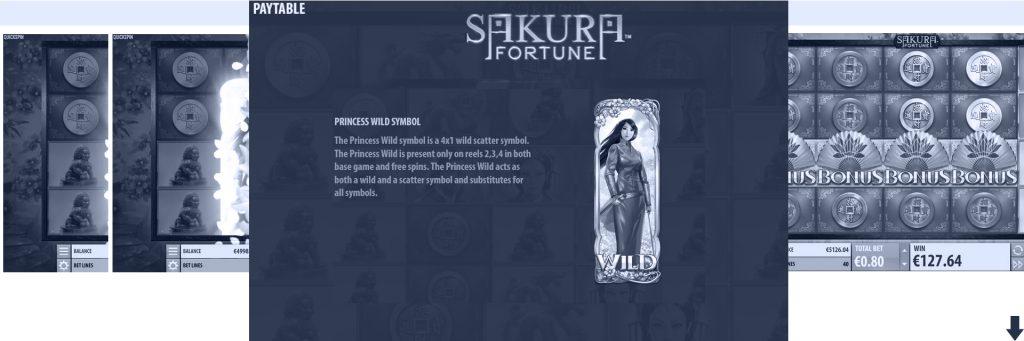 Sakura Fortune slot features.