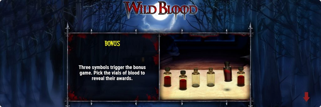 Wild Blood slot machine bonus.