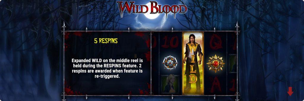Wild Blood slot machine free spins.