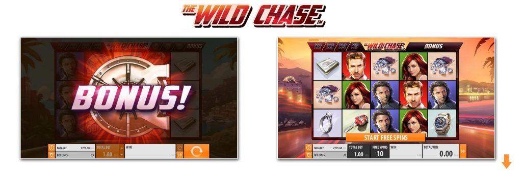 Wild Chase slot bonuses.