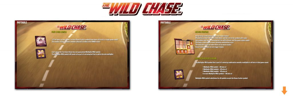 Wild Chase slot features.